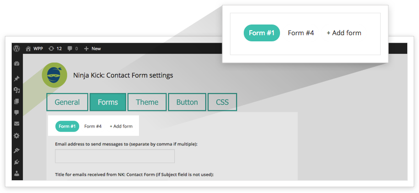 Form ID is on the labels below Tabs